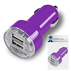 Purple Dual 2.1 / 1 Amp [ 3.1A ] Compact Fast Charge 2 x USB Ports Car Charger Adapter For Alcatel One Touch 813F