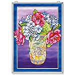 Amia Window Décor Panel Features Roses and Hydrangeas in a Cloisonne Vase, 11-Inches Width by 15.5-Inches Length, Handpainted Glass