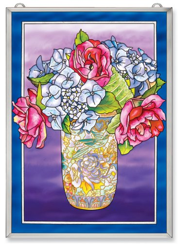 Amia Window Décor Panel Features Roses and Hydrangeas in a Cloisonne Vase, 11-Inches Width by 15.5-Inches Length, Handpainted Glass 0