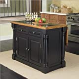Home Styles Monarch Roll-Out Leg Granite Top Kitchen Island in Black and Oa ....