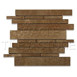 Noce Travertine Honed Random Strip Mosaic Tile