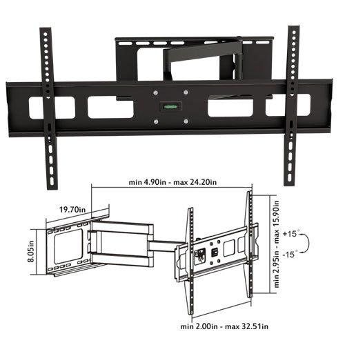 "Cmple - Universal Heavy Duty Swivel Full Motion Wall Mount For Led, 3D Led, Lcd, Plasma Tv'S 37-63""-Black"