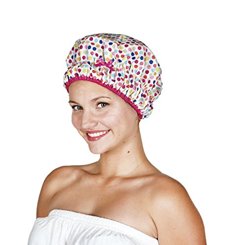 Betty Dain Fashionista Collection Mold Resistant Lined Shower Cap, Deco Dots, 2.8 Ounce (Shower Cap Terry Lined compare prices)