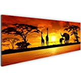 Bilder & Kunstdruck Prestigeart 0002141a Bild auf Leinwand XXL Kunstdrucke , 120 x 40 cm Afrika Sunset, Elefanten Wandbild