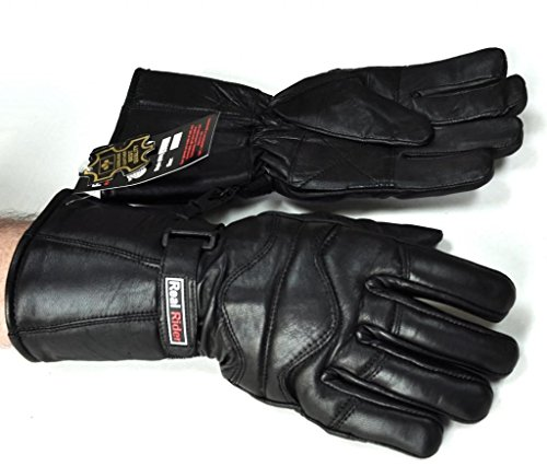 Large Winter Motorcycle Gauntlet Genuine Leather Insulated Gloves Genuine Leather Gauntlet Gloves