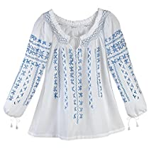 AZTEC BLUE EMBROIDERED WHITE COTTON PEASANT TUNIC TOP - Large