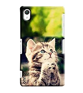 Omnam Cat Sitting In Propose Pose Printed Designer Back Cover Case For Sony Xperia Z2