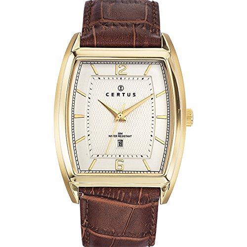 Certus 612371-Watch Men-Quartz-Analogue Beige Dial Brown Leather Strap