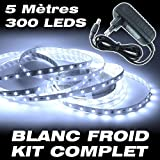Kit complet Ruban LED Professionnel Flexible - 5 Mètres - 60 LED/M - Couleur Blanc Froid - 3528