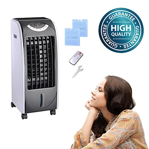 Koval Inc. 65w Portable Remote Control Evaporative Air Cooler Fan Humidifier w 6L Tank (65 W, Gray) (Used Ac Heater Window Unit compare prices)