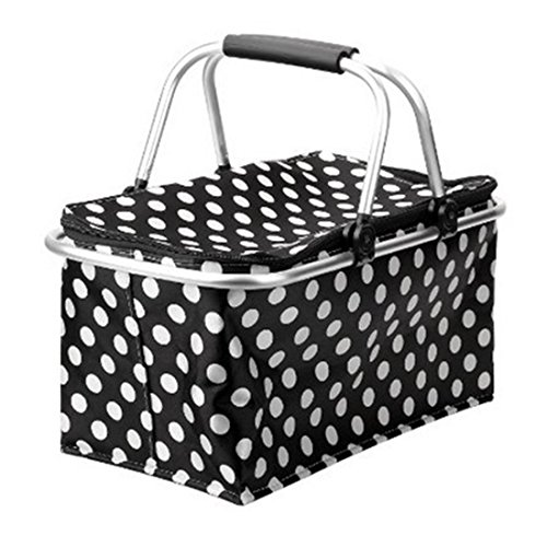 Summer Portable All in One Picnic Basket Bag Foldable Insulated Cooler Picnic Basket Bag Plates Cutlery Insulated Cooler Set Perfect Cooler Reusable Lunch Box to Carry Your Food and Snack (All In One Picnic Cooler compare prices)