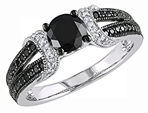 Black and White Diamond Ring 1.0 Carat (ctw) in 10k White Gold, Size 6.5