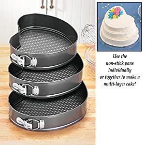 Heart Shaped Valentines Day Bake Non Stick Springform Pans Set of 3