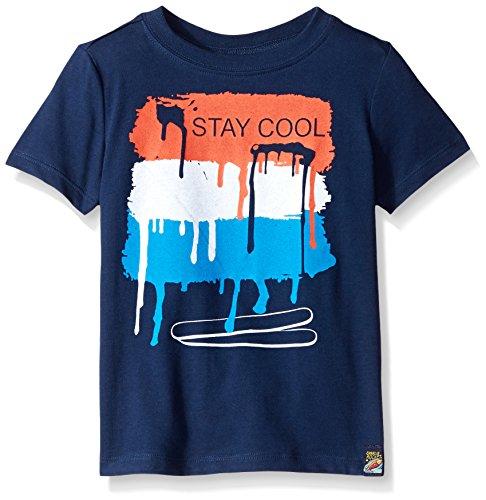 Charlie Rocket Little Boys Short Sleeve Graphic Tee, Indigo, 7