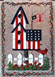 Patriotic Birdhouse Large Flag America Bird Fence