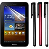 Premium LCD Clear Screen Protector + 3 Packs of Touch Screen Stylus Pen for Samsung Galaxy Tab 7.0 Plus P6200 P6210