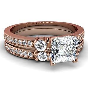 Fascinating Diamonds 1.15 Ct Princess Cut Archetypal Diamond Modest Engagement Bridal Rings Set VVS1 GIA