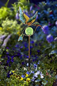 Moonrays 91444 Solar Powered Garden Glass Hummingbird Stake LED Light, Metal & Glass