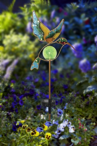 Moonrays 91444 Solar Powered Garden Glass Hummingbird