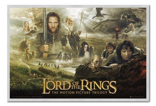 senor-de-los-anillos-trilogy-poster-corcho-pin-tablero-de-notas-plata-enmarcada-965-x-66-cms-aprox-3
