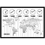 Seiko Contemporary Wall Map with 6 Time Zone Clocks - 33.5W x 23.5H in.