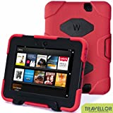 "Kindle Fire Hd 7"" Cover Case New Hot Item High Quality Slim Fit Silicone Plastic Dual Protective Back Cover Standing Case Kid Proof Case for Amazon Kindle Fire Hd 7 Inch(will Only Fit Kindle Fire Hd 7""previous Generation )-Multiple Color Options (Red  Black)"