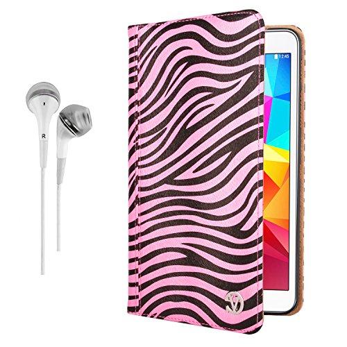 Vangoddy Mary Portfolio Wild Pink White Zebra Multi Purpose Book Style Slim Flip Cover Case For Samsung Galaxy Tab 4 8.0' Android + White Hands-Free Microphone Earphones Headphones