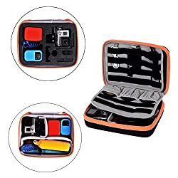 SHINEDA ' GridCase - for GoPro 3 3+ 4 Accessories Case ; Up to 2x GoPro cameras, Elastic loops, 3x neoprene 58mm GoPro Lens Filter pockets; Cables etc.. GoPro Case by SHINEDA