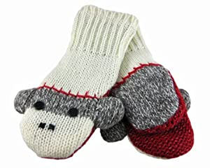DeLux Sock Monkey Wool Animal Mittens