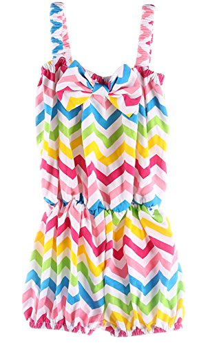 Andi Rose Baby Infant Toddler Girls Sleeveless Bowknot Outfit Romper (Size-L(2T-3T), Rainbow) front-1046613
