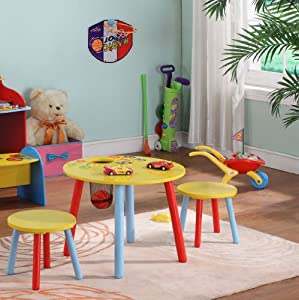 Kings Brand Children's Kids Round Table Chairs 2 Chairs / Stools