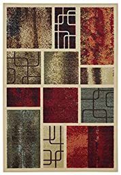 Anti-Bacterial Rubber Back AREA RUGS Non-Skid/Slip 3x5 Floor Rug | Contemporary Frame Boxes Indoor/Outdoor Thin Low Profile Living Room Kitchen Hallways Home Decorative Traditional Rug