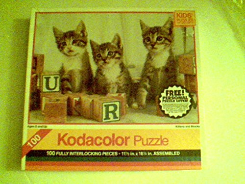 "Kodacolor Puzzle 100 Pieces 11.5"" X 16.25"" - Kittens and Blocks"