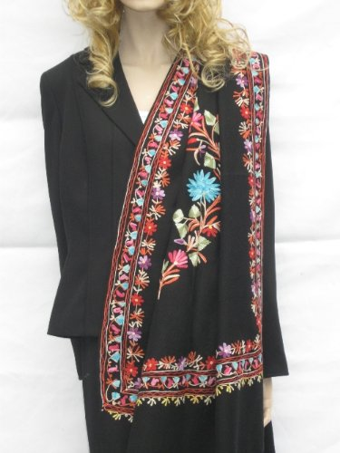 SHAWLS / SCARF -CASHMERE PASHMINA WRAP WITH ALL OVER CREWEL EMBROIDERY