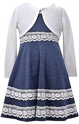 Bonnie Jean Big Girls Blue Lace Cardigan Dress
