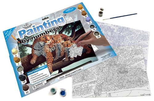 Royal & Langnickel Painting by Numbers Junior Large Art Activity Kit, African Leopard and Cubs - 1