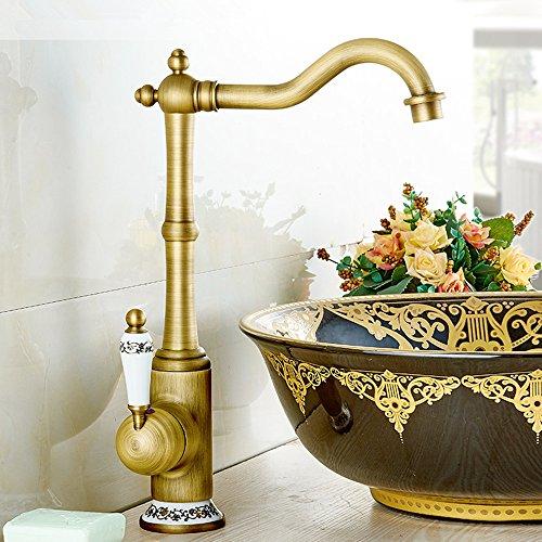 Rame antico calda e fredda girevole artistico pubblico rubinetto lavabo piattaforma bacino Retro Shampoo