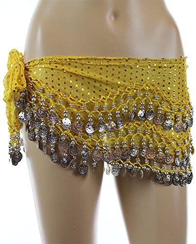 Yellow Sequined Silver Coins Rave EDC Belly Dance Skirt Hip Scarf Costume 158 coins
