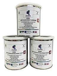 Coloredepoxies 10009 Epoxy Paint 2:1 Part for Garage Floor, Basement and Concrete, 3 Quart Kit, Red