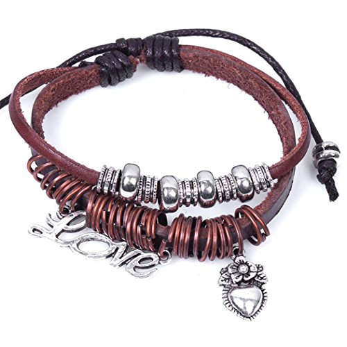 Sun Lorence Vintage Style LOVE Heart Pendant Red Leather Bracelet with Alloy Ring