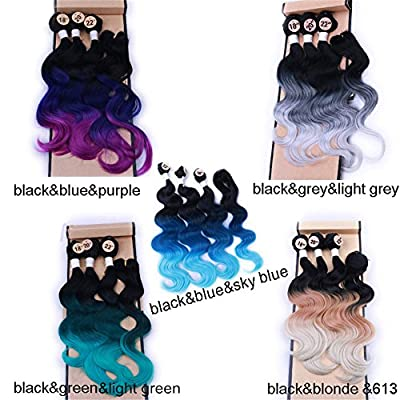 """HANNE Ombre Color Hair Synthetic Body Wave Hair 18""""20""""22"""" with Closure Heat Resistant Fiber Hair Colorful Synthetic Hair Extensions"""