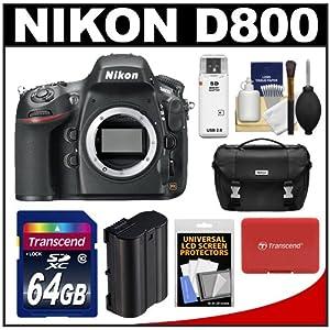 Nikon D800 Digital SLR Camera Body with 64GB Card + Case + Battery + Accessory Kit