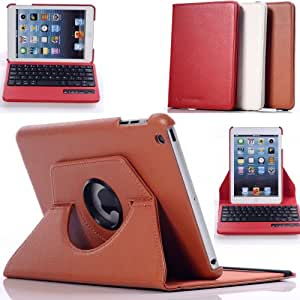 Case Mama 360 Rotating PU Leather Detachable Bluetooth Keyboard Case for iPad Mini with Auto Wake Up and Sleep Function (Brown)