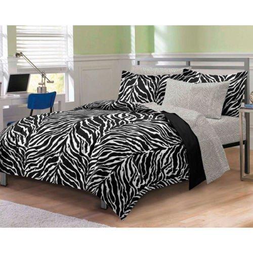 Full Size Zebra Print Comforter Set Sheets Bedding Dorm Bed-In-Bag Microfiber front-1052741