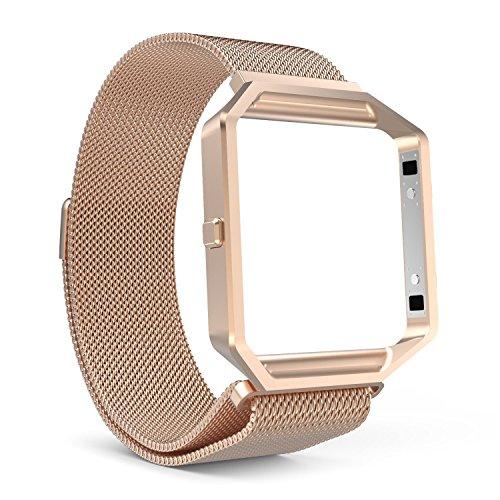 MoKo Fitbit Blaze Watch Accessori, Custodia Metallica & Cinturino Milanese in Acciaio Inossidabile con Regolabile Chiusura Magnetica per Fitbit Blaze Smart Fitness Watch, ORO