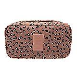 Novias Portable Multifunctional Drawer Divider Closet Organizer Underwear Storage Cosmetic Bag Toiletries Organizer(Pink Leopard)