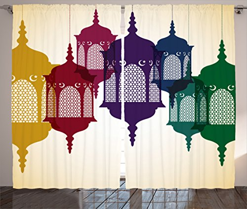 Ambesonne Lantern Decor Collection, Antique Colorful Arabian Lantern Hang on Sky Traditional Islamic Art Design, Living Room Bedroom Curtain 2 Panels Set, 108 X 84 Inches, Purple Red Yellow (Arabian Party Decorations)