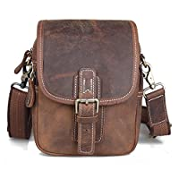 Amango Retro Crazy-horse Leather Waist Bag Chest Pack, Fit Phones Brown A3006
