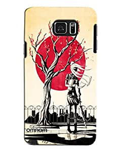 Omnam Black And Cream Contrast Of Tree Sun And Girl Printed Designer Back Cover Case For Samsung Galaxy Note 5