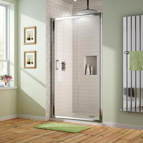Modern 1000 x 800mm Sliding Door Shower Enclosure with Tray Set & Free Waste EG2000